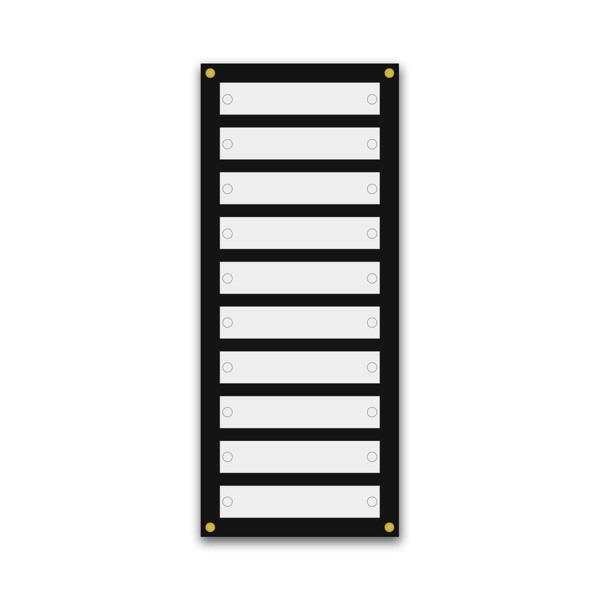 Support pour 10 plaques de 25x5 cm et entête