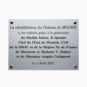 Plaque commémorative aluminium, finition mat - Plaque inaugurale aluminium gravé