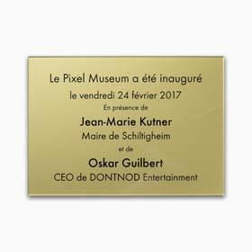 Plaque commémorative plexiglas - Plaque inaugurale, plexiglas or gravure noire