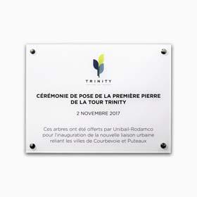 Plaque commémorative: Impression couleur sur plaque plexiglas