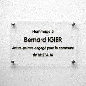 Plaque commémorative en plexiglas transparent, plaque hommage incolore