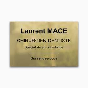 Plaque dentiste en laiton poli gravé