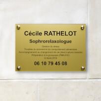 Plaque en plexiglas or gravure noire, format 30 x 20 cm