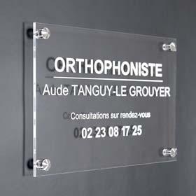 Plaque profession liberale - Plaque orthophoniste en plexiglas transparent