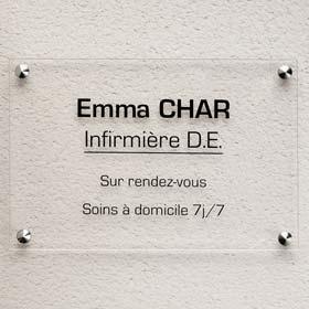 Plaque professionnelle 30x20 cm en plexiglas incolore lettres noires