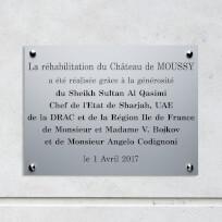 Plaque commémorative aluminium anodisé mat, gravure laser noire