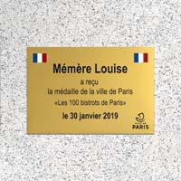 Plaque commémorative aluminium or brillant, gravure tricolore et noire