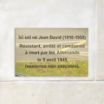 Plaque commémorative laiton massif, poli miroir, gravure en creux