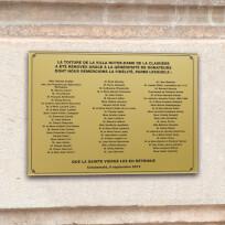 Plaque commémorative, plexiglas or gravé noir