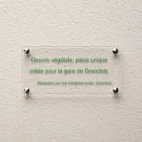 Plaque commémorative en plexiglas incolore, lettres vertes