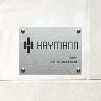 Plaque société en aluminium - finition brossé avec gravure noire