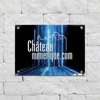 Plaque d'entreprise - impression noire et bleue sur plexiglas