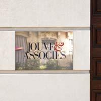 Plaque de société laiton massif poli miroir, gravure logo en creux bicolore