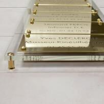 Multi-plaques en plexiglas transparent, plaques en laiton massif, fixations entretoises laiton