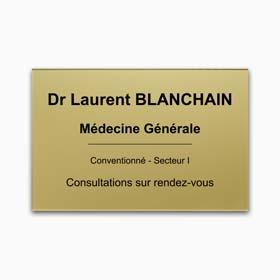 Plaque profession libérale en plexiglas - Plaque de médecin plexiglas or, gravure noire
