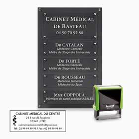 Plaque cabinet médical : multi-plaques de cabinet médical, tampon encreur médical