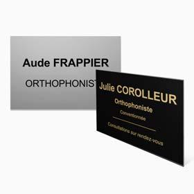 Plaque profession libérale orthophoniste : plaque orthophoniste en plexiglas, aluminium, laiton
