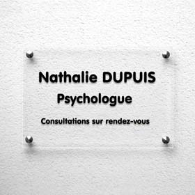Plaque psychologue en plexiglas transparent